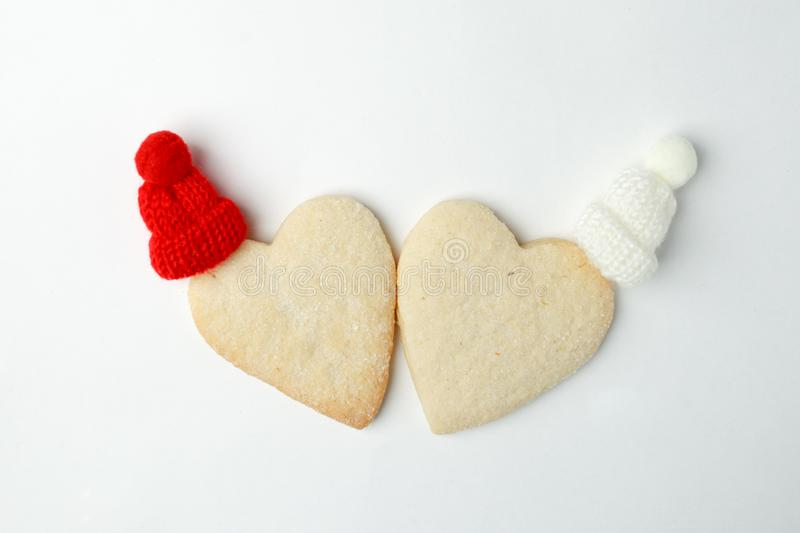 Christmas New Year winter Saint valentine Celebration Decorations Concept, homemade ginger bread heart royalty free stock image