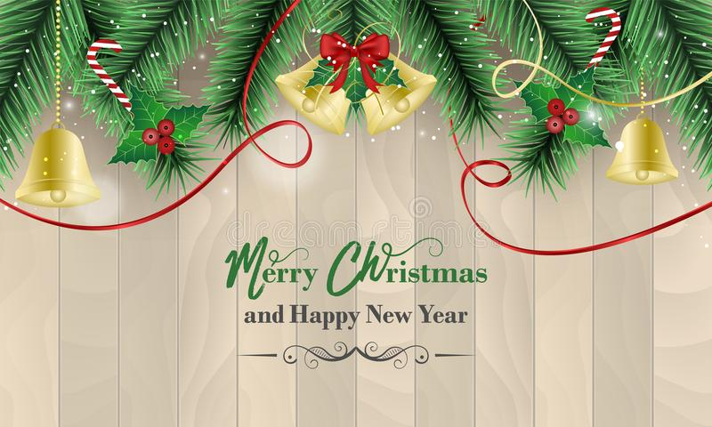 Christmas and New Year wishes with golden bells and red bow, ribbons, holly berry, wands and bokeh effect on a wooden background. vector illustration