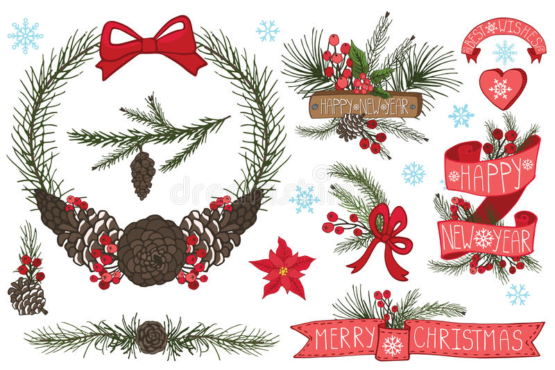 Christmas ,New Year wreath,border,ribbons,group stock illustration