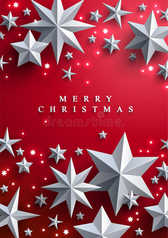 Christmas and New Years background with frame made of stars royalty free illustration