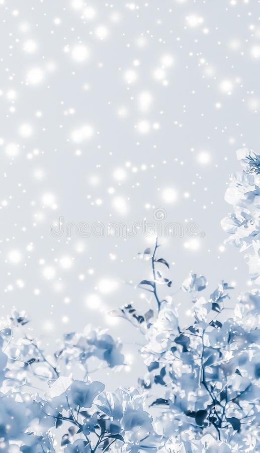 Christmas, New Years blue floral nature background, holiday card design, flower tree and snow glitter as winter season sale. Magical, branding and festive stock image