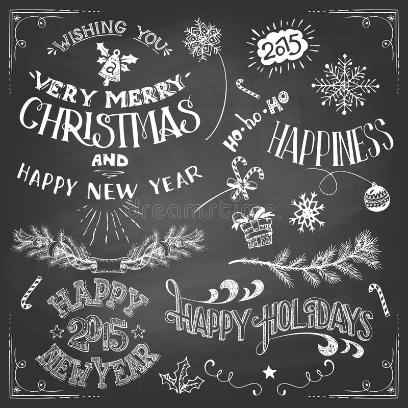 Christmas and New Years elements set vector illustration