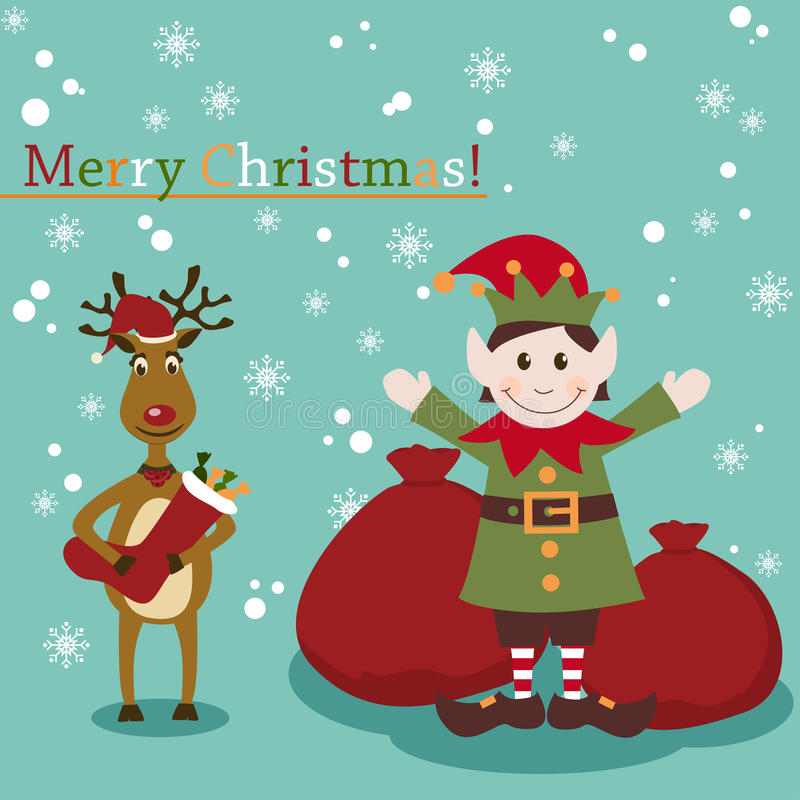 Christmas and New Years greeting card with elf and