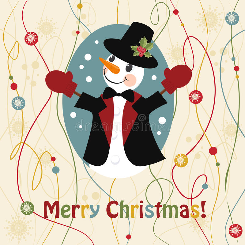 Download Christmas And New Years Greeting Card With Snowman Stock Vector - Image: 19641167