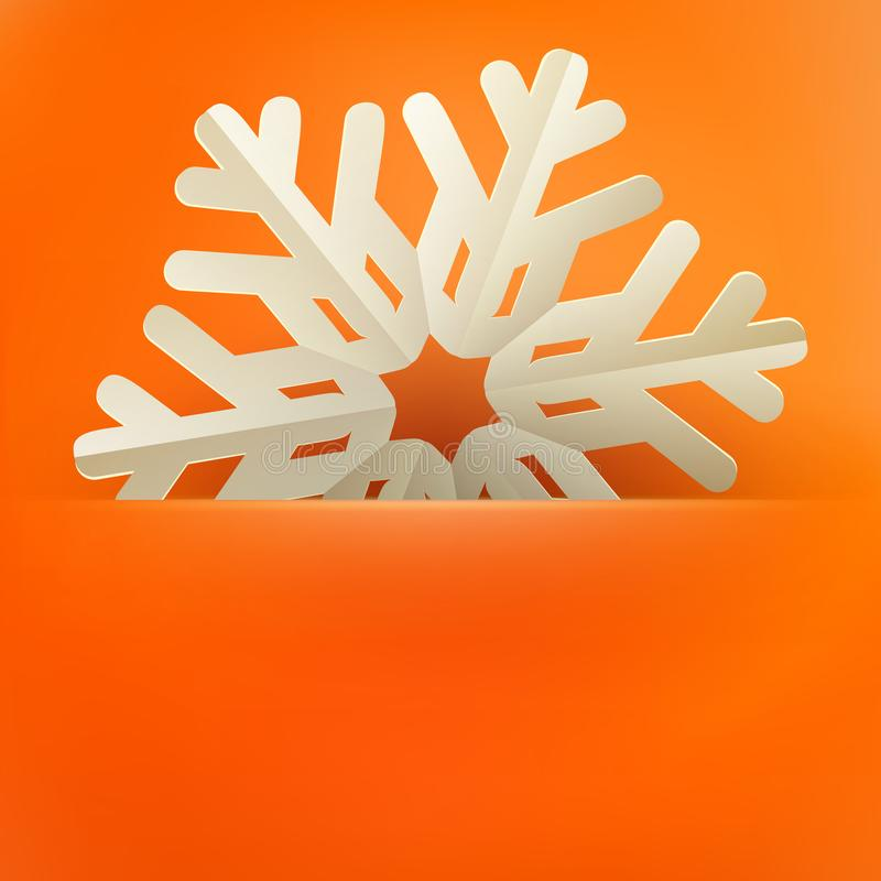 Christmas and New Years orange background with vintage paper snowflakes card. EPS 10 vector illustration