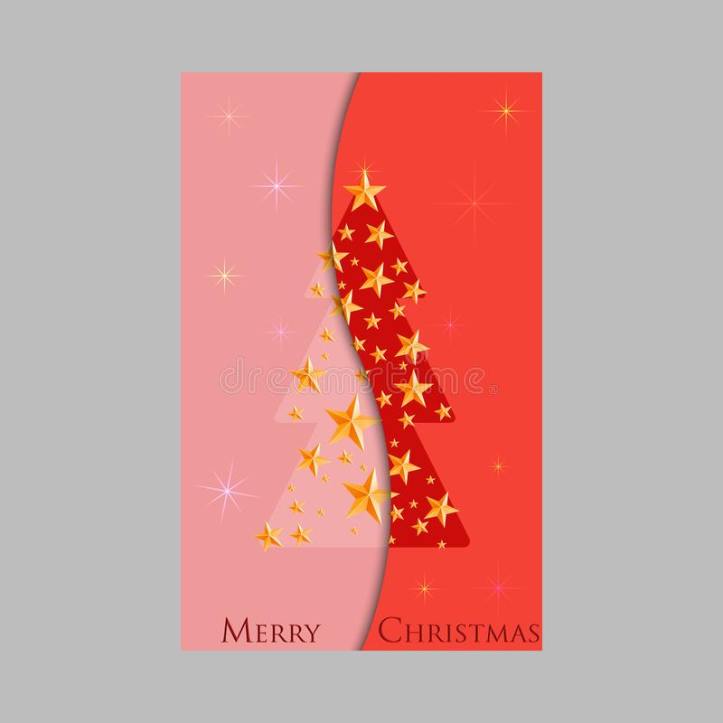 Christmas and New Years red background with Christmas Tree made of cutout paper stars stock illustration
