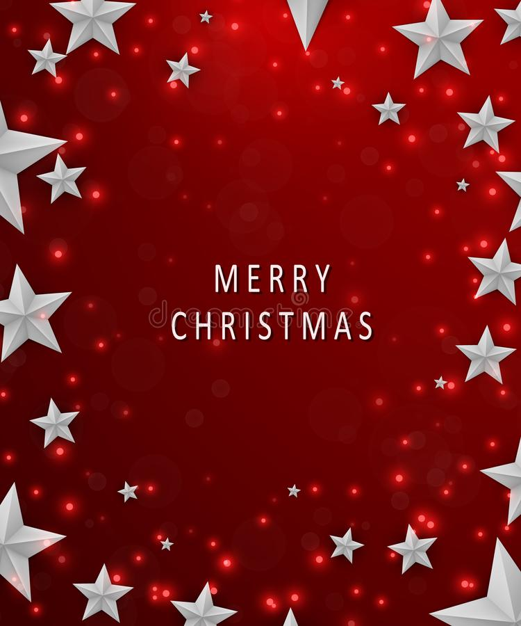 Christmas and New Years red background with frame made of cutout paper stars. Merry christmas concept. vector illustration