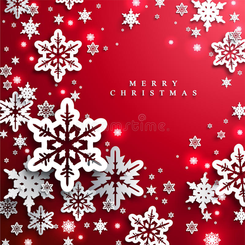 Christmas and New Years red background with paper snowflakes stock illustration
