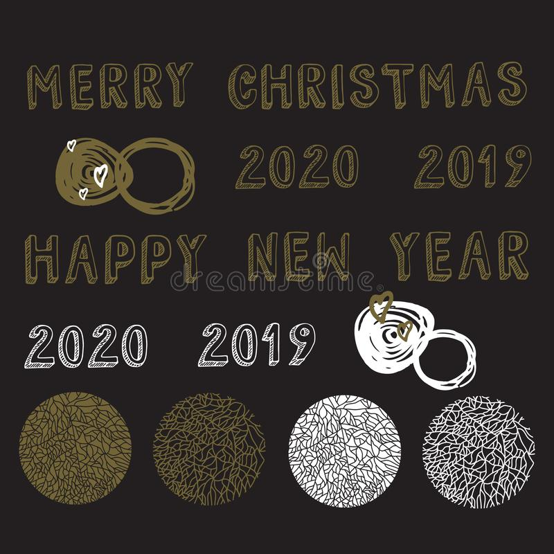 Christmas, new years set of 2019, 2020, snowflakes and text. Elements for prints, greeting cards, winter posters, invitations. stock illustration