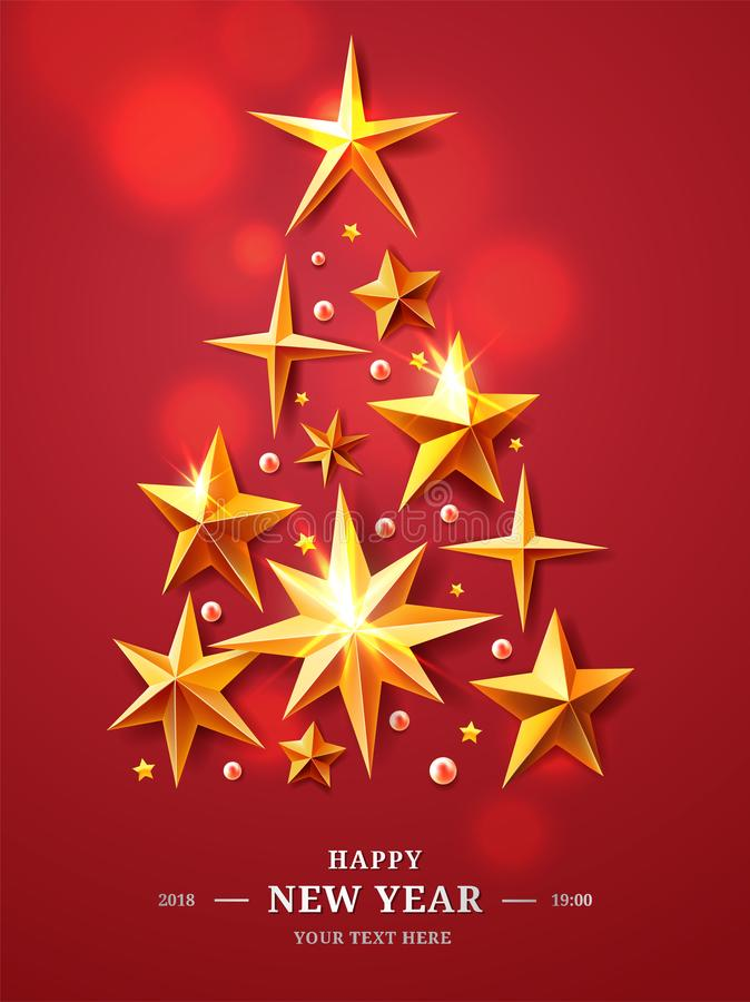 Christmas and New Years Tree made of realistic cutout foil, metal gold stars on red background with luminous vector illustration