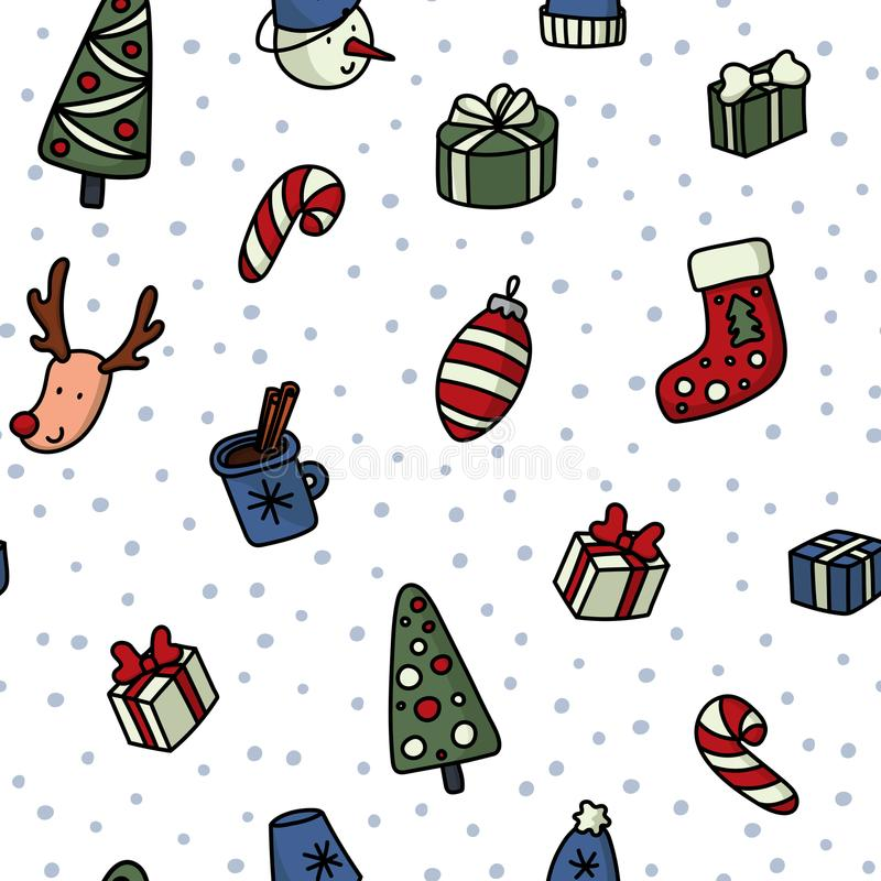 Christmas and New Yyear doodles seamless pattern. Set of winter holidays signs and symbols - christmas ball, snowman stock illustration