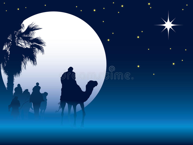 Christmas night. Nativity scene with wise men on camels going through the desert stock illustration