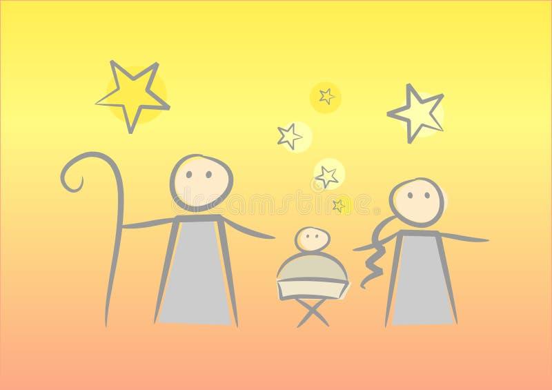 Christmas Night. Colorful cartoon illustration of the birth of Jesus stock illustration
