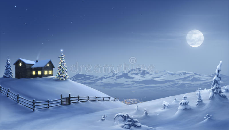 Christmas night royalty free illustration