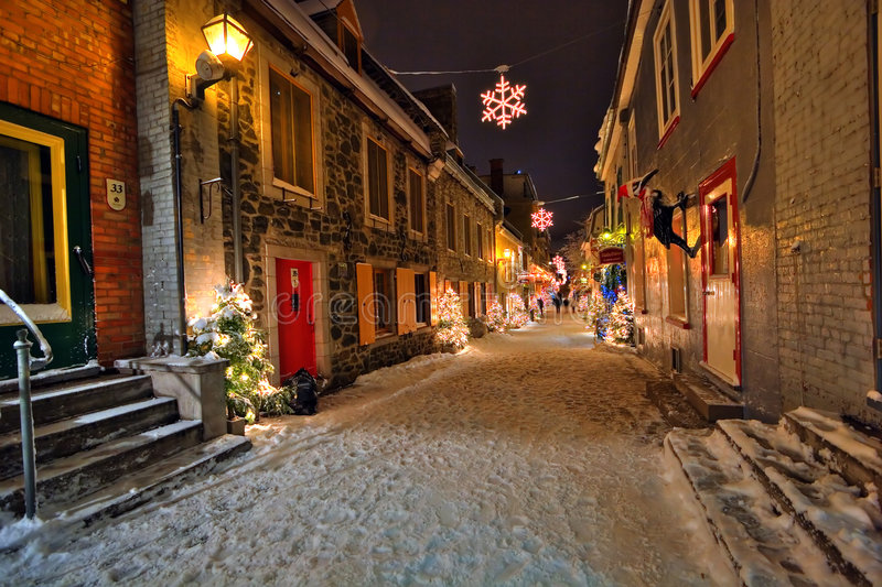Christmas night. Night shot of a street in the old town of Quebec City, Canada
