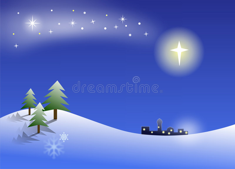 Christmas night. With the little town of Bethlehem visible in the distance and the star shining above it stock illustration