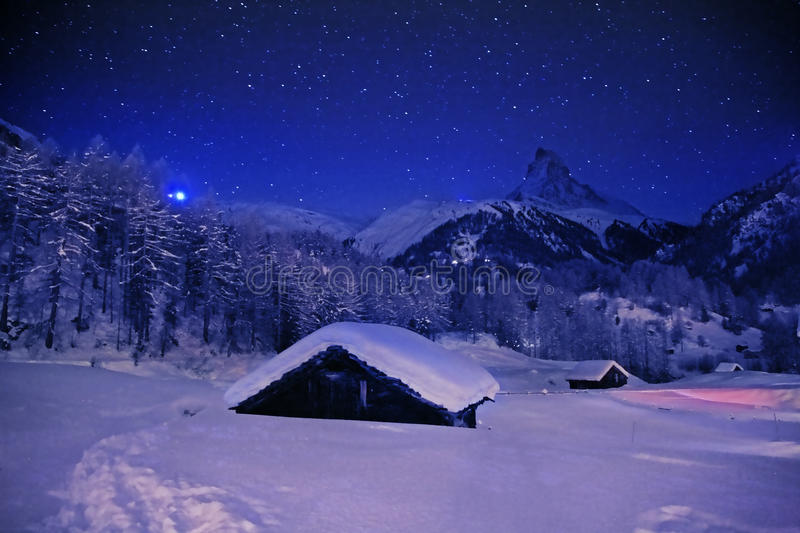 Download Christmas night in Alps stock photo. Image of lila, christmas - 11285432