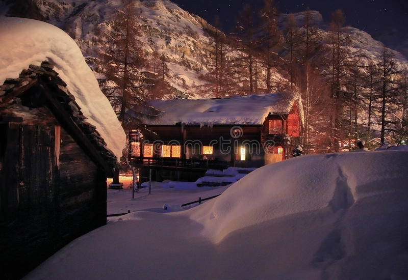 Download Christmas Night In Alps Stock Photo - Image: 11295670