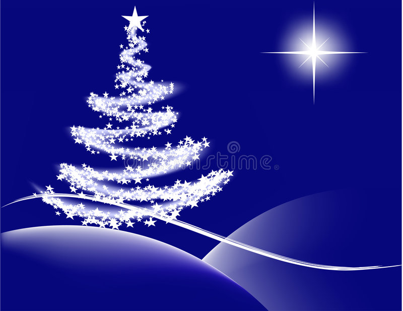 Christmas night - blue. Vector- Christmas tree with lights and the star of Bethlehem royalty free illustration