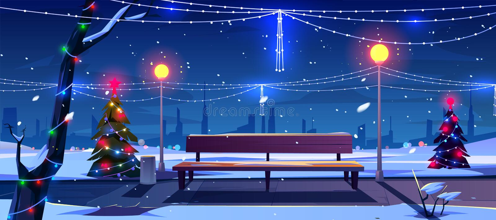 Christmas in night park, empty public garden view. Christmas in night city park, empty public garden with decorated fir-trees, bench and lighting garlands vector illustration