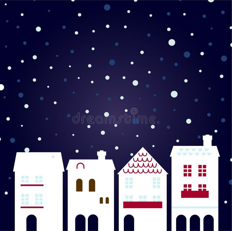Christmas night city on snowing stock illustration