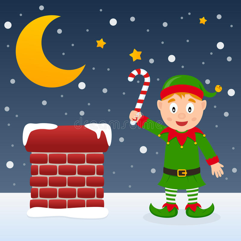 Download Christmas Night With Cute Elf Stock Vector - Illustration: 46886749