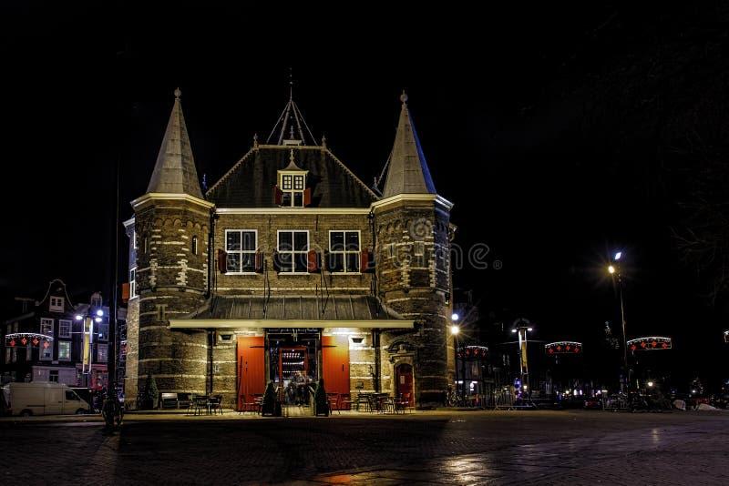 Christmas night decoration at De Waag royalty free stock photography