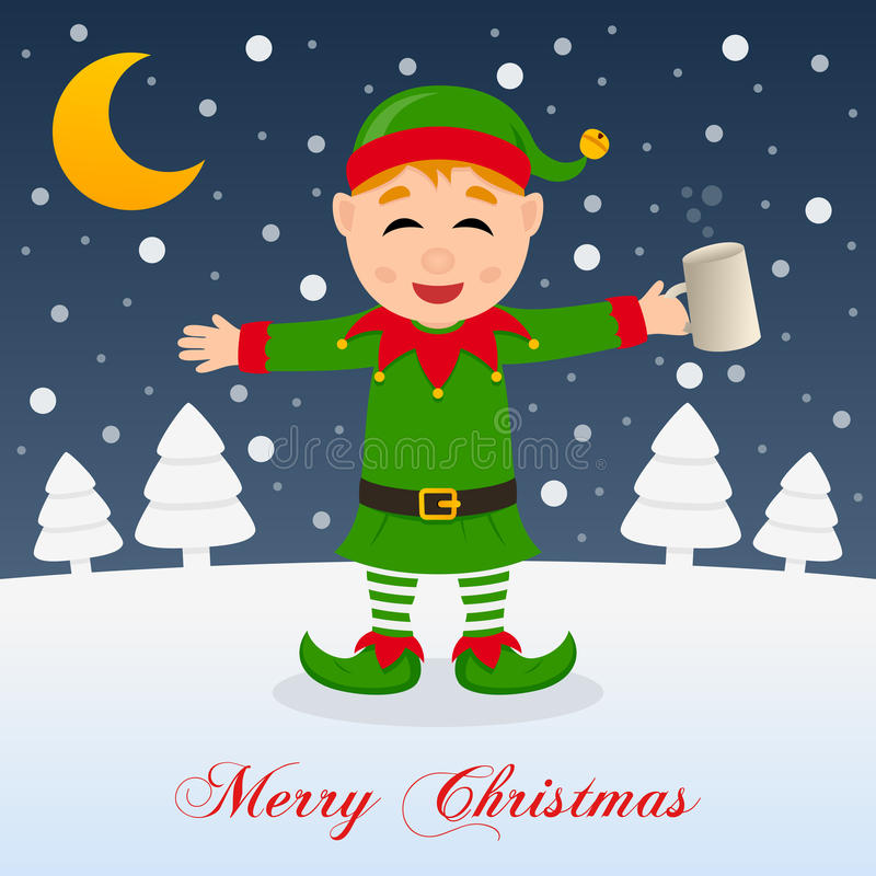 Download Christmas Night With Drunk Happy Green Elf Stock Vector - Illustration: 80074828