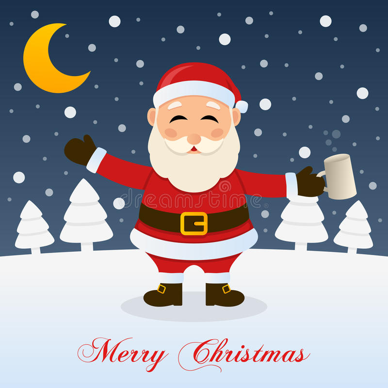 Christmas Night with Drunk Santa Claus. A merry Christmas greeting card with the trees, the moon and a drunk Santa Claus in a snowy scene. Eps file available stock illustration