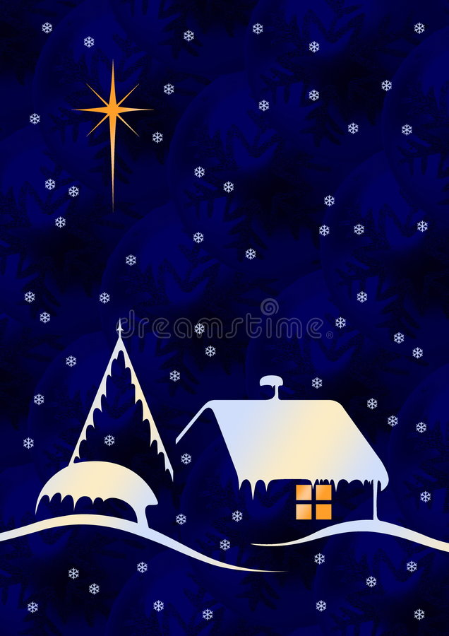 Christmas night with globes stock illustration