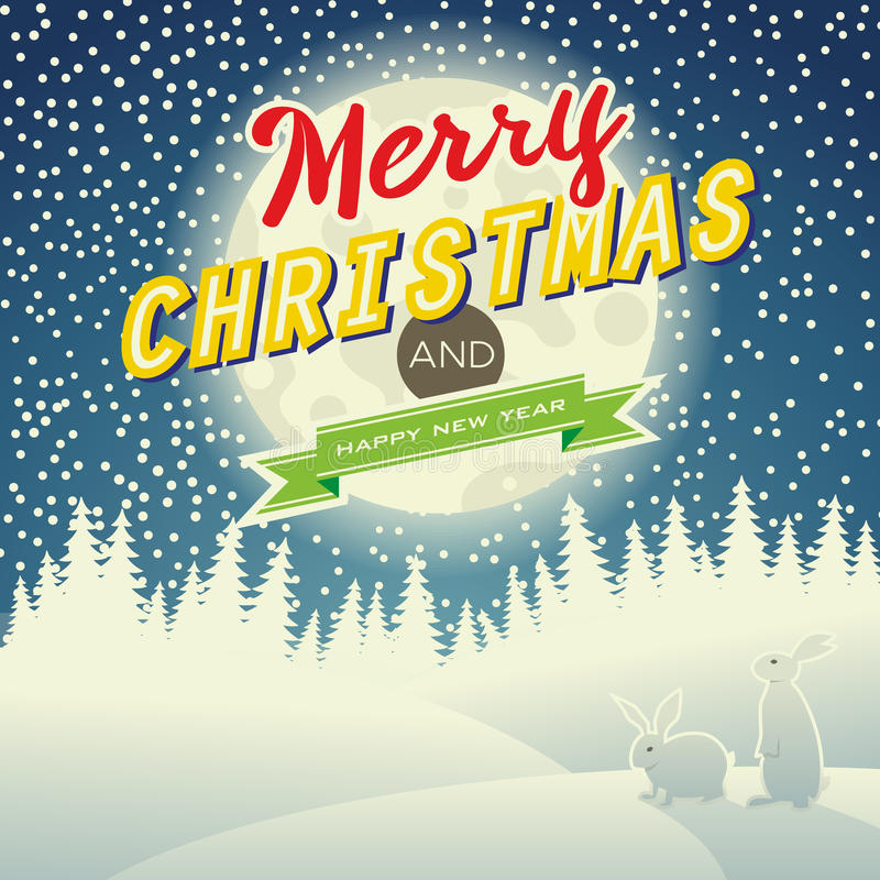 Christmas night landscape royalty free illustration