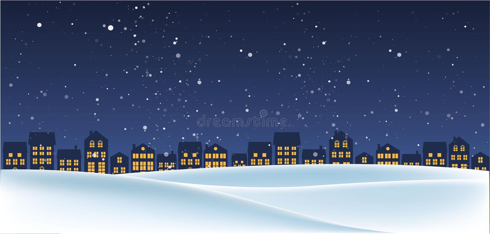 Christmas night landscape with houses stock photos