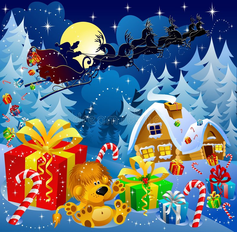 Christmas night magic. Christmas night scene with Santa sleigh