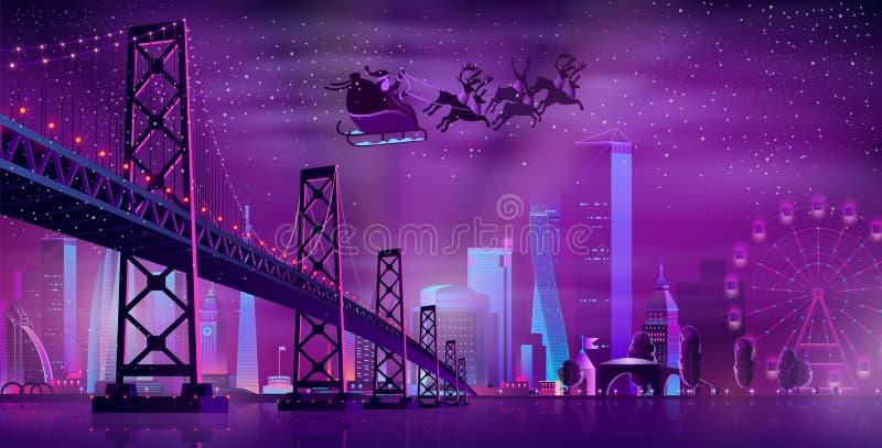Christmas night in metropolis cartoon vector. Christmas night in modern city cartoon vector concept. Santa Claus with gift sack, on sleigh harnessed reindeer royalty free illustration