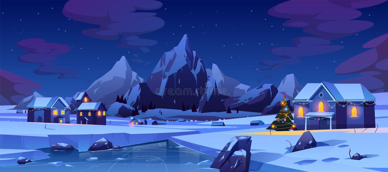 Christmas night in mountain city or Canada, xmas. Christmas night in mountain city or Canada. Winter landscape with houses or chalet glowing with colorful lights vector illustration