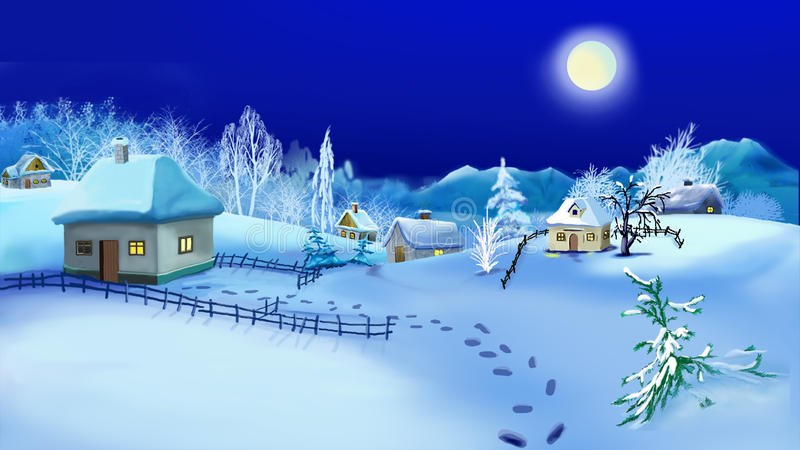 Christmas Night in Old Traditional Ukrainian Village. Handmade illustration in a classic cartoon style vector illustration