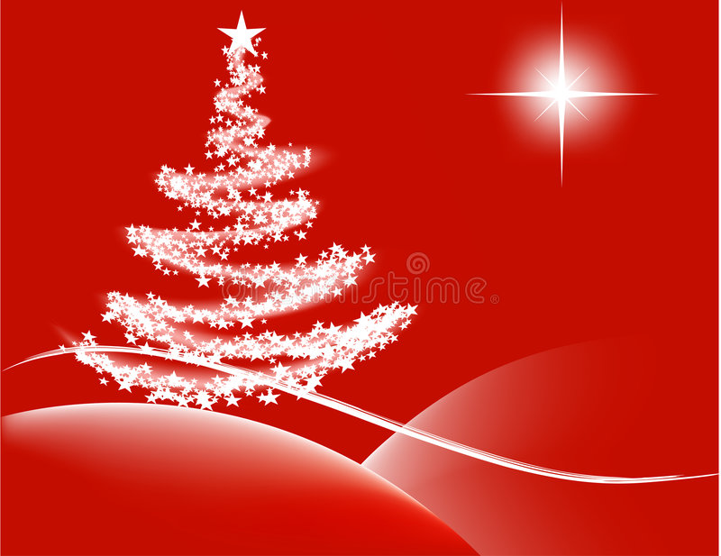 Christmas night - red. Vector - abstract Christmas design with lit tree and the Bethlehem star royalty free illustration