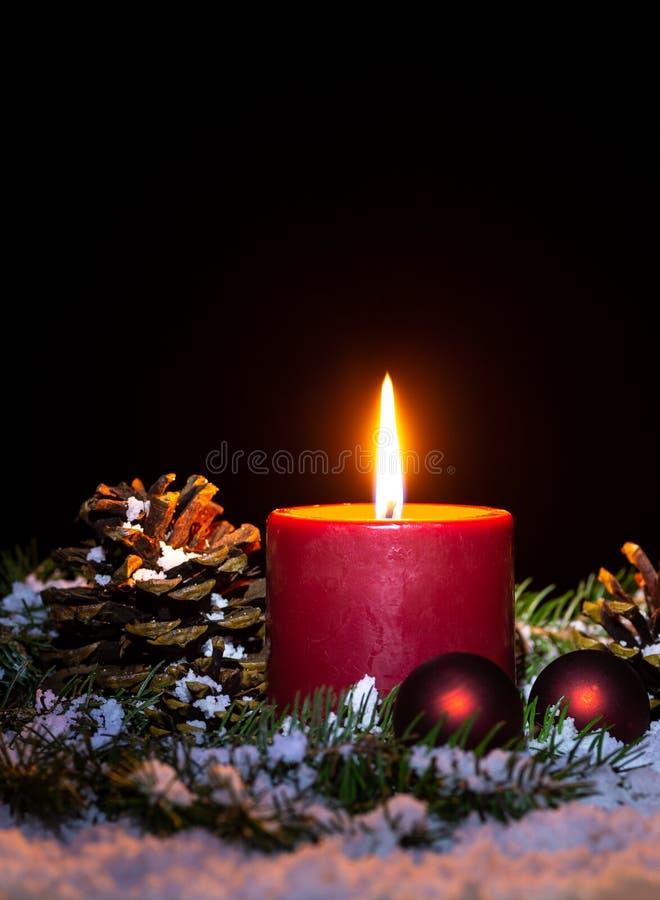 Christmas Night Scene With Burning Candle royalty free stock photos