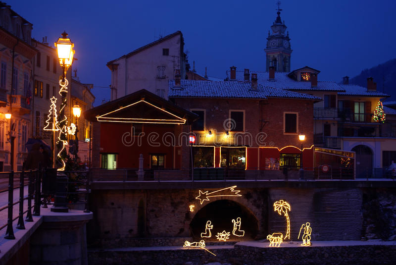 Christmas night. Christmas scenery in the city at night royalty free stock photo