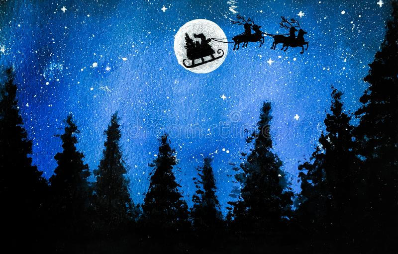 Christmas Night sky with Silhouette of Santa, sleigh, trees, full moon and stars. stock images