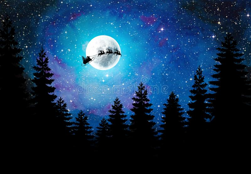 Christmas Night sky with Silhouette of Santa, sleigh, trees, full moon and stars. royalty free stock photo