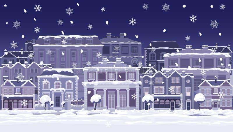 Christmas Night Snow Houses and Shops Street Scene stock illustration