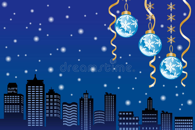 Download Christmas Night Snowing City EPS10 Stock Images - Image: 34890624