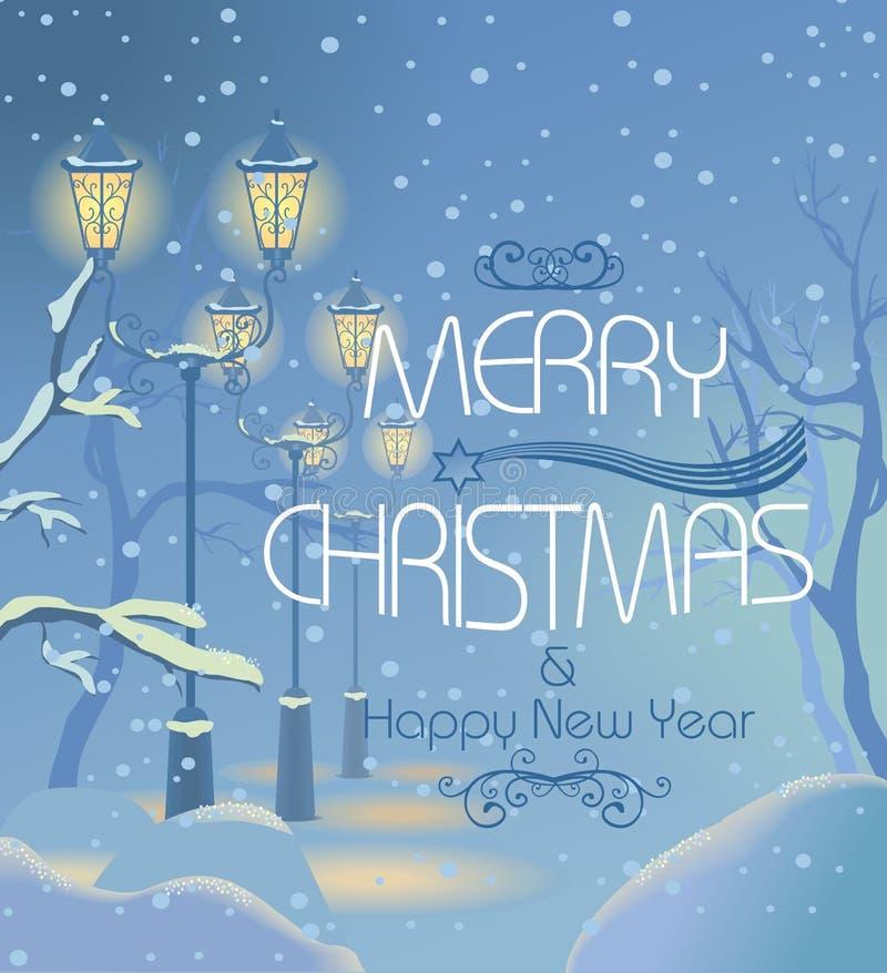 Christmas night snowy street stock illustration