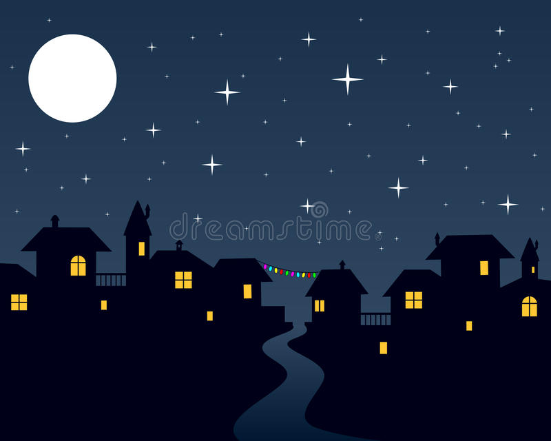 Christmas Night Town Scene stock vector. Image of house - 26933377