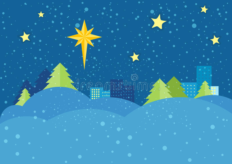 Christmas Night Vector Concept in Flat Design. Christmas night vector concept. Flat design. Starry sky with bright eight-pointed star of Bethlehem on snowy stock illustration
