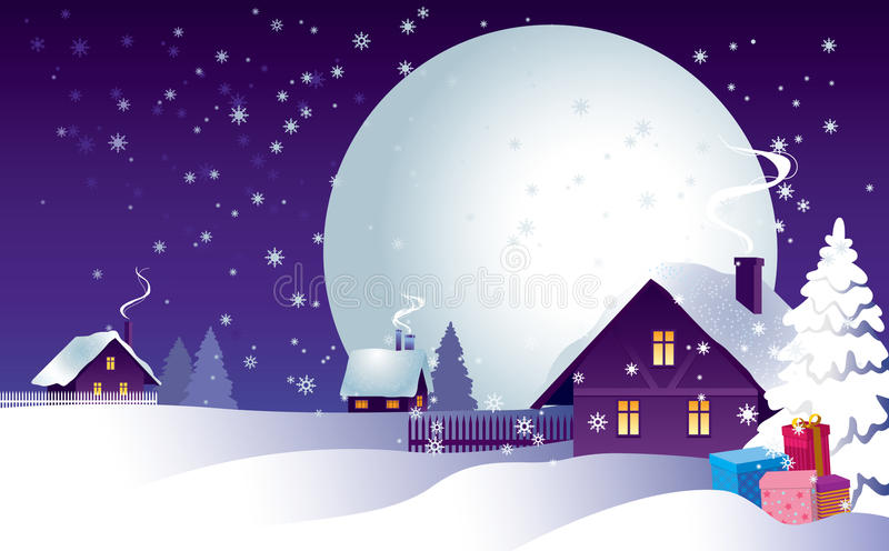 Christmas night in the village vector illustration