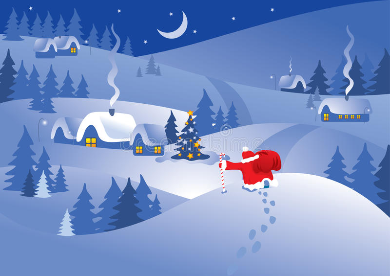 Christmas night village. Vector. stock illustration
