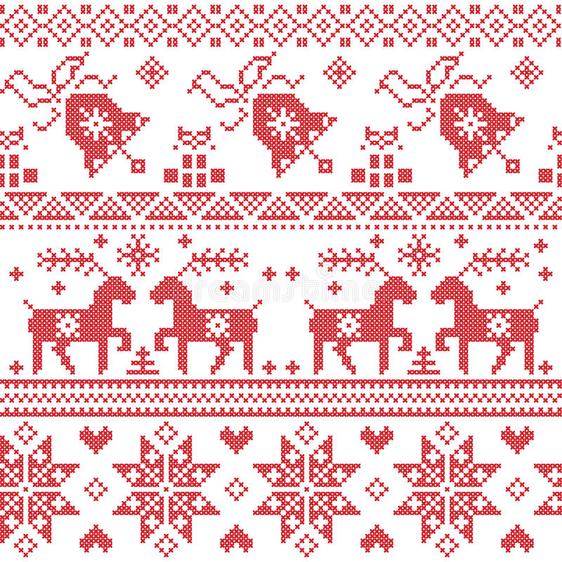 Christmas Nordic cross stitch pattern including reindeer, snowflake, star, Xmas tree, bell, presents in red. Graphic vector illustration