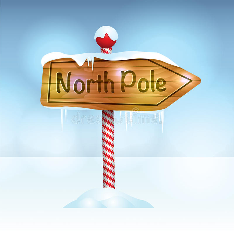 Christmas North Pole Sign in Snow Illustration royalty free illustration